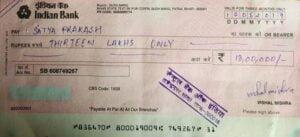 Patna Madhubani painting Cheque