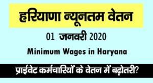 Minimum Wages in Haryana January 2020