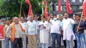 trade union demonstration in bharat bandh